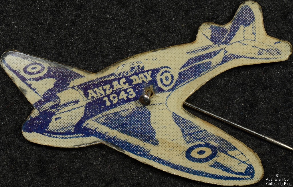 ANZAC Day 1943 Spitfire Celluloid Badge