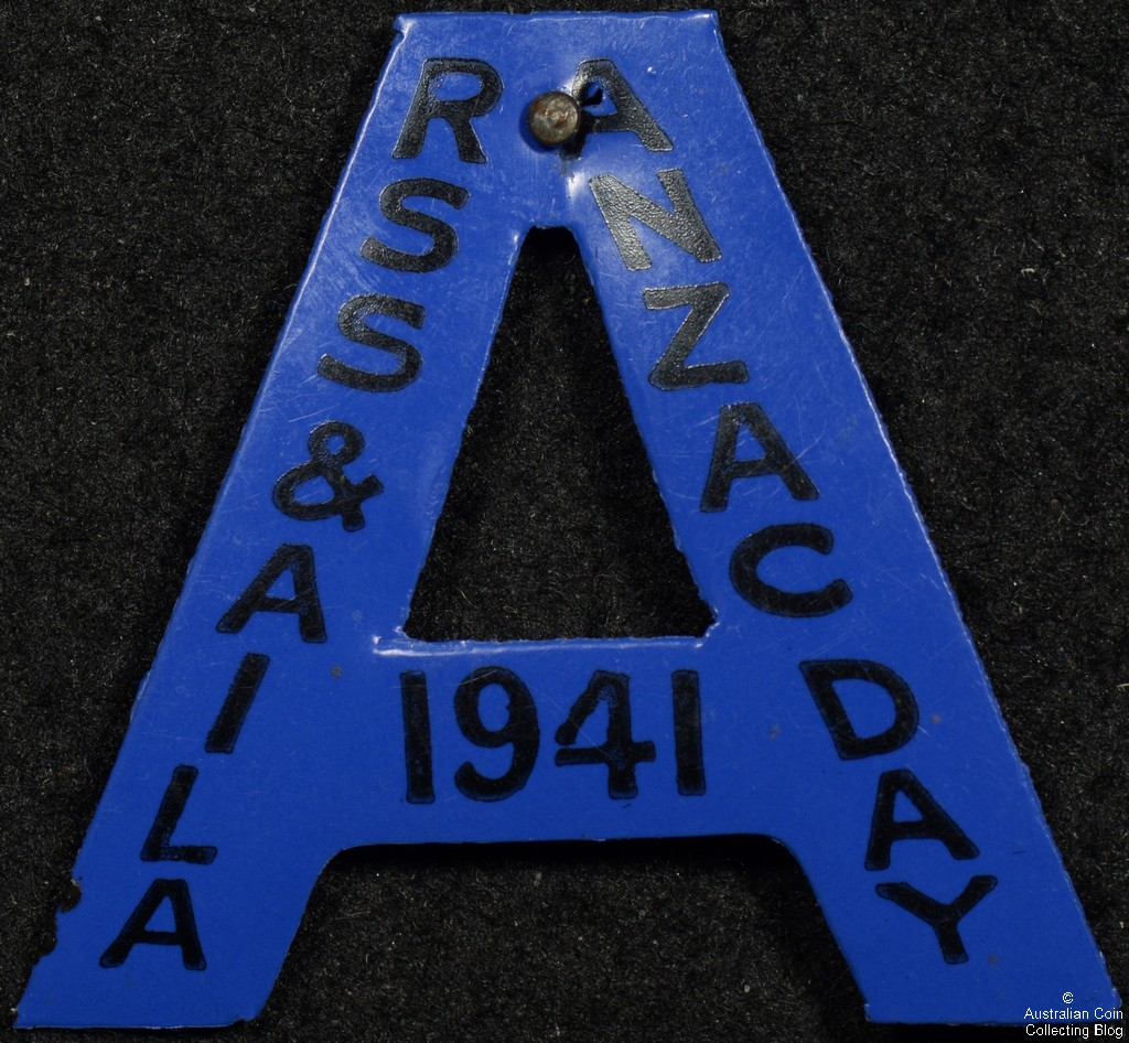 ANZAC DAY RSS & AILA 1941 Blue Celluloid Badge