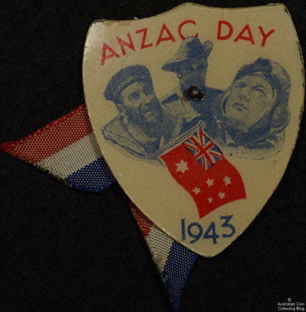 Shield Shaped ANZAC DAY 1943 Celluloid Over Cardboard Badge