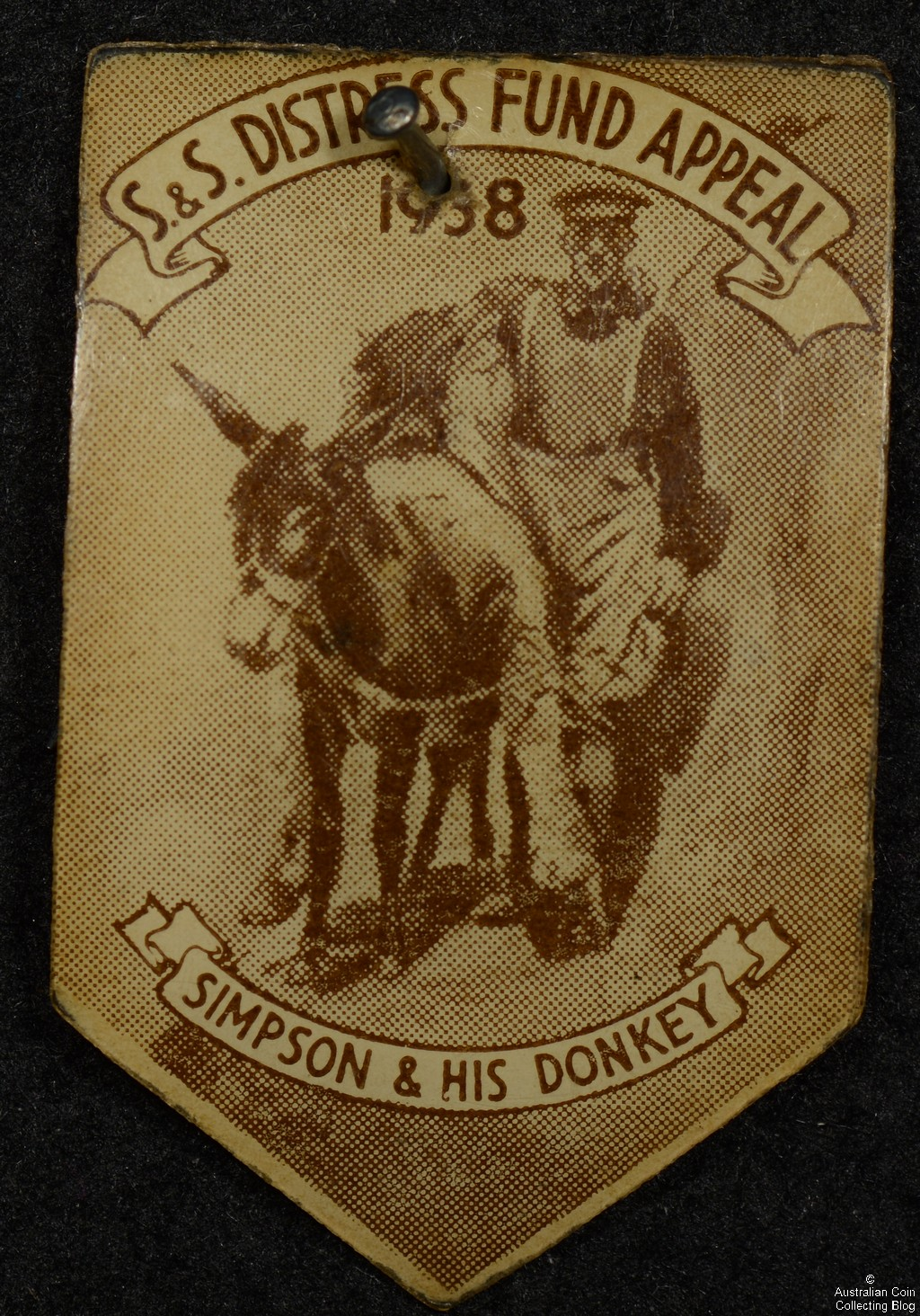 Simpson and His Donkey S & S Distress Fund Appeal 1938 Badge