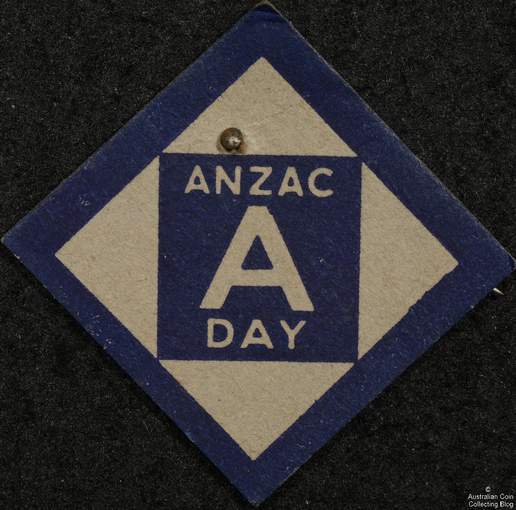 ANZAC Day A  Diamond Shaped Cardboard Badge