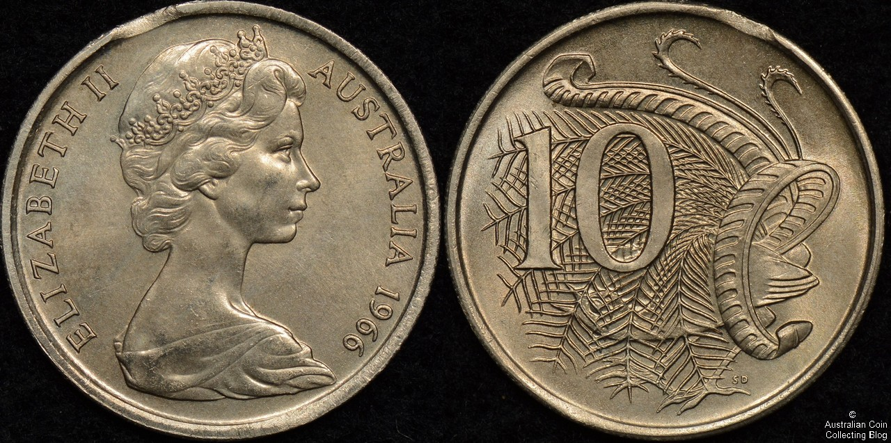 Australia 1966 10c Clipped Planchet Error