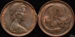Australia 1966 1 cent clipped planchet