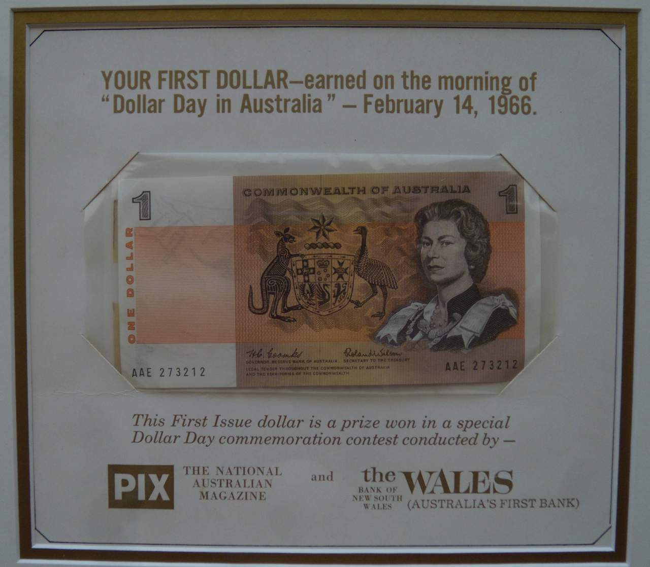 """YOUR FIRST DOLLAR -earned on the morning of """"Dollar Day in Australia""""-February 14, 1966 Prize"""