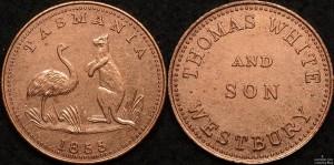 1855 Thomas White Westbury 1/2d token - re-strike