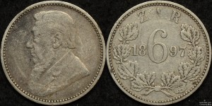 ZAR 1897 Sixpence