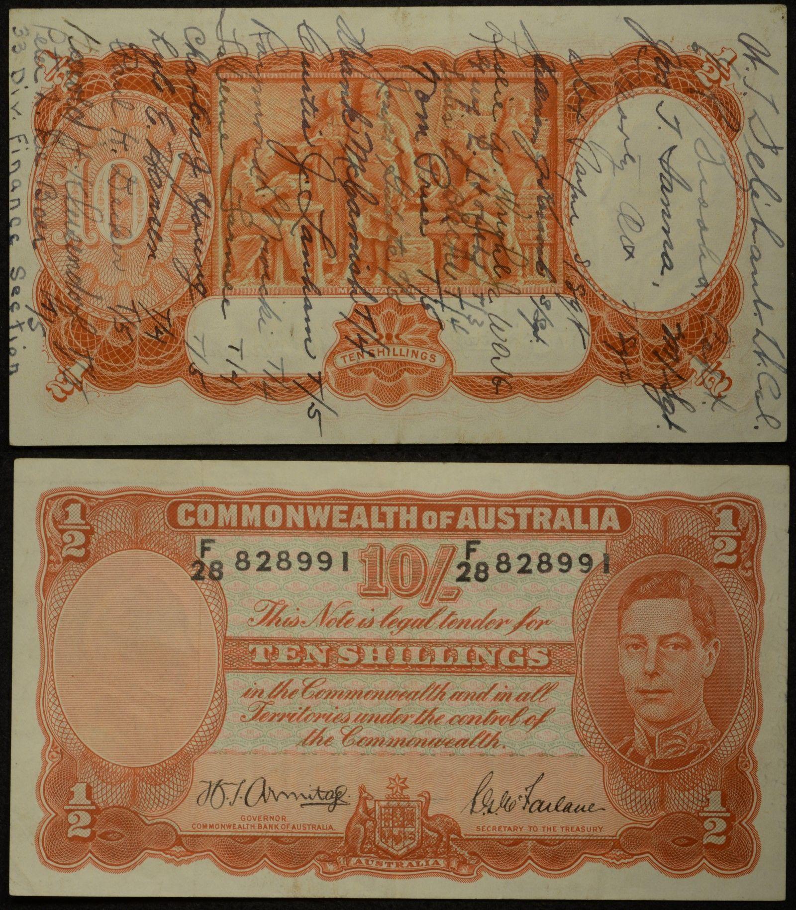 Australia 1942 Ten Shilling Armitage McFarlane Banknote Short Snorter Pair