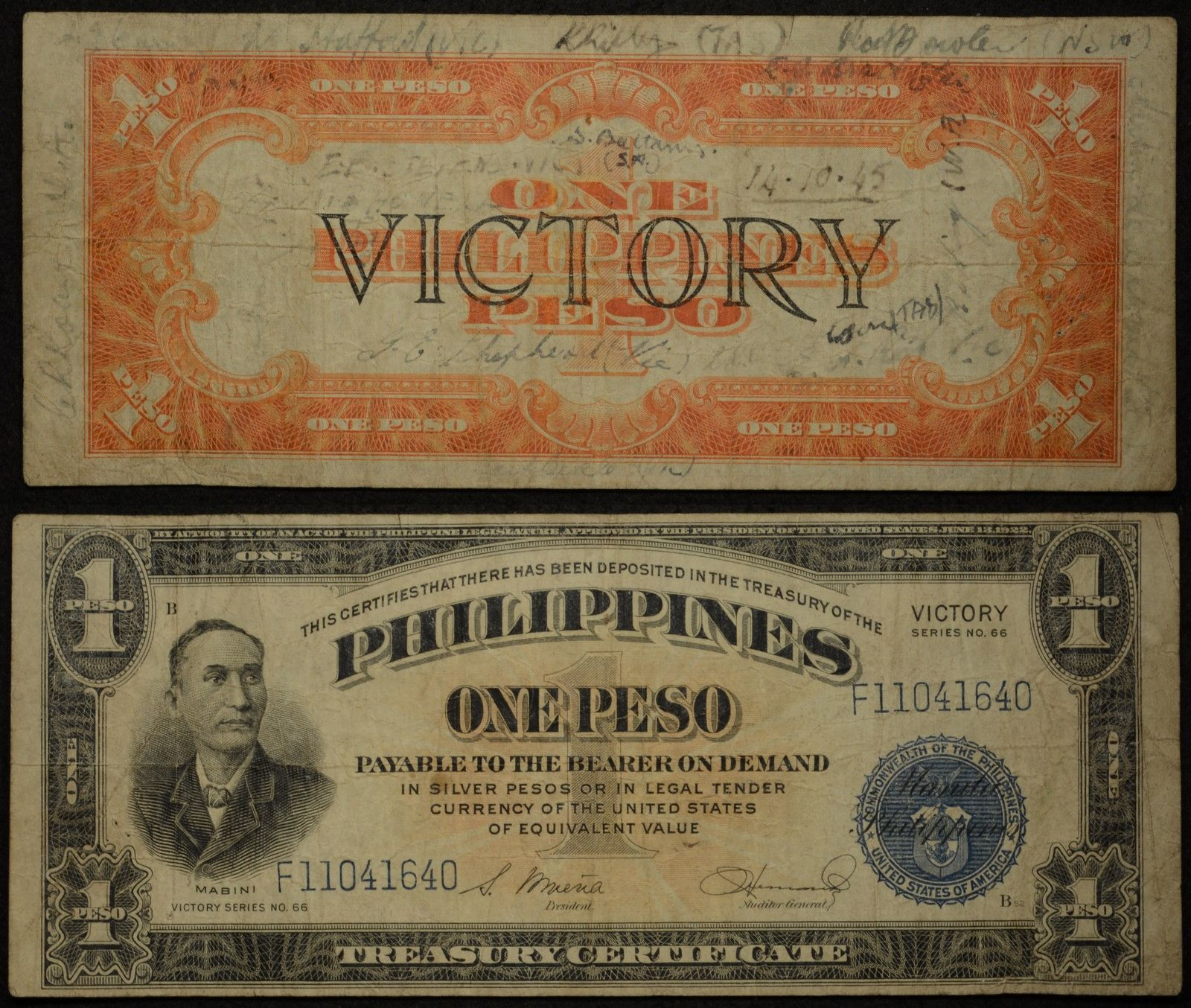 Phillipines Victory One Peso Banknote Short Snorter