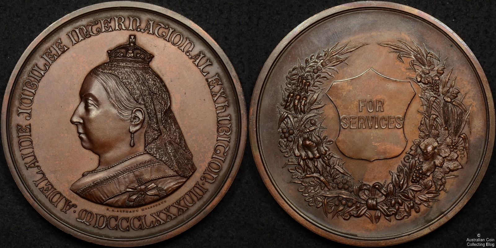 1887 Adelaide Jubilee International Exhibition Medal For Services