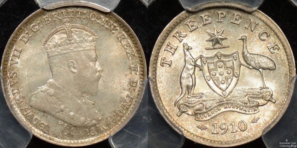 Australia 1910 3d PCGS MS66