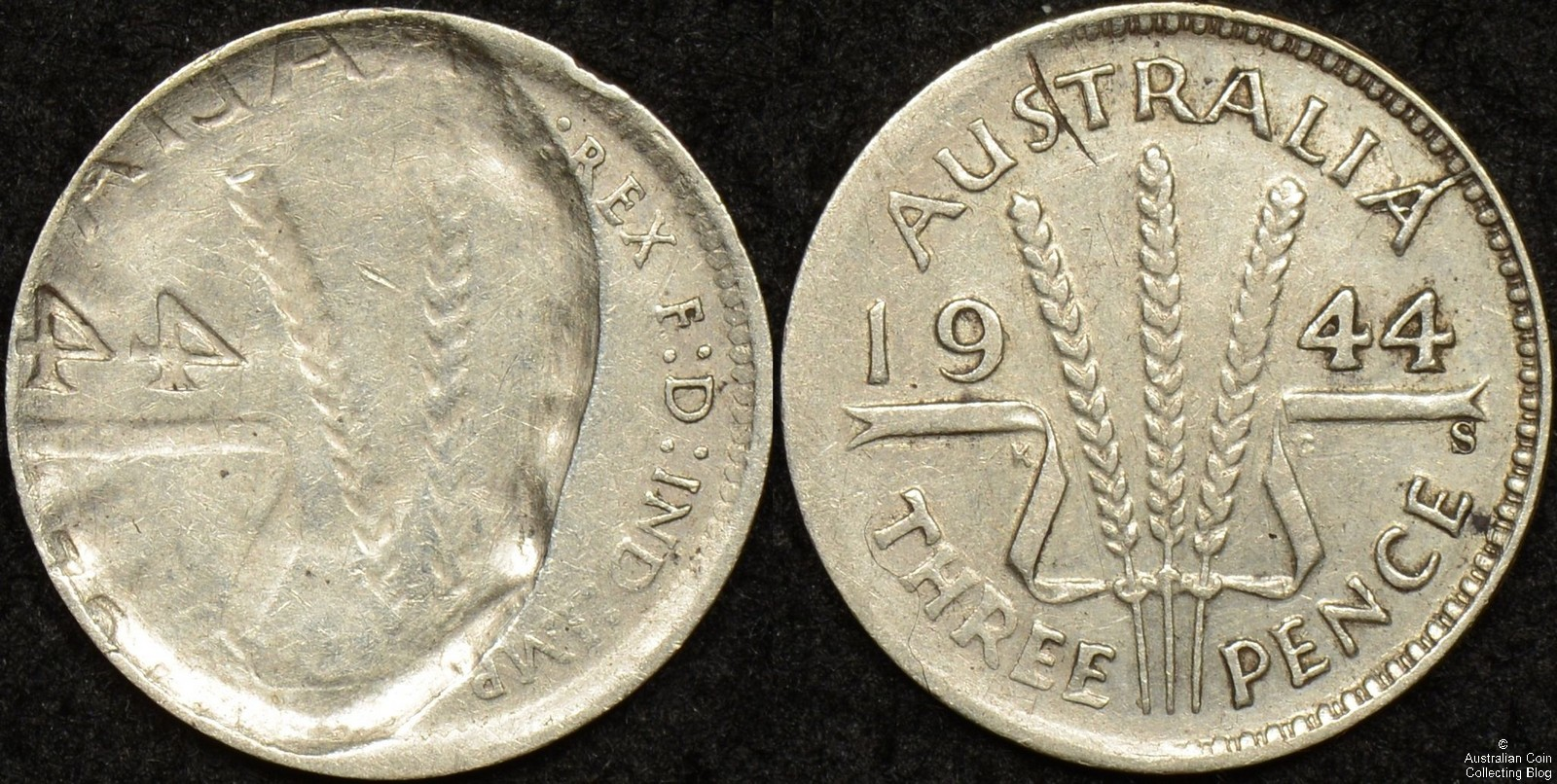 Australia 1944s Threepence Partial Brockage Indent Error