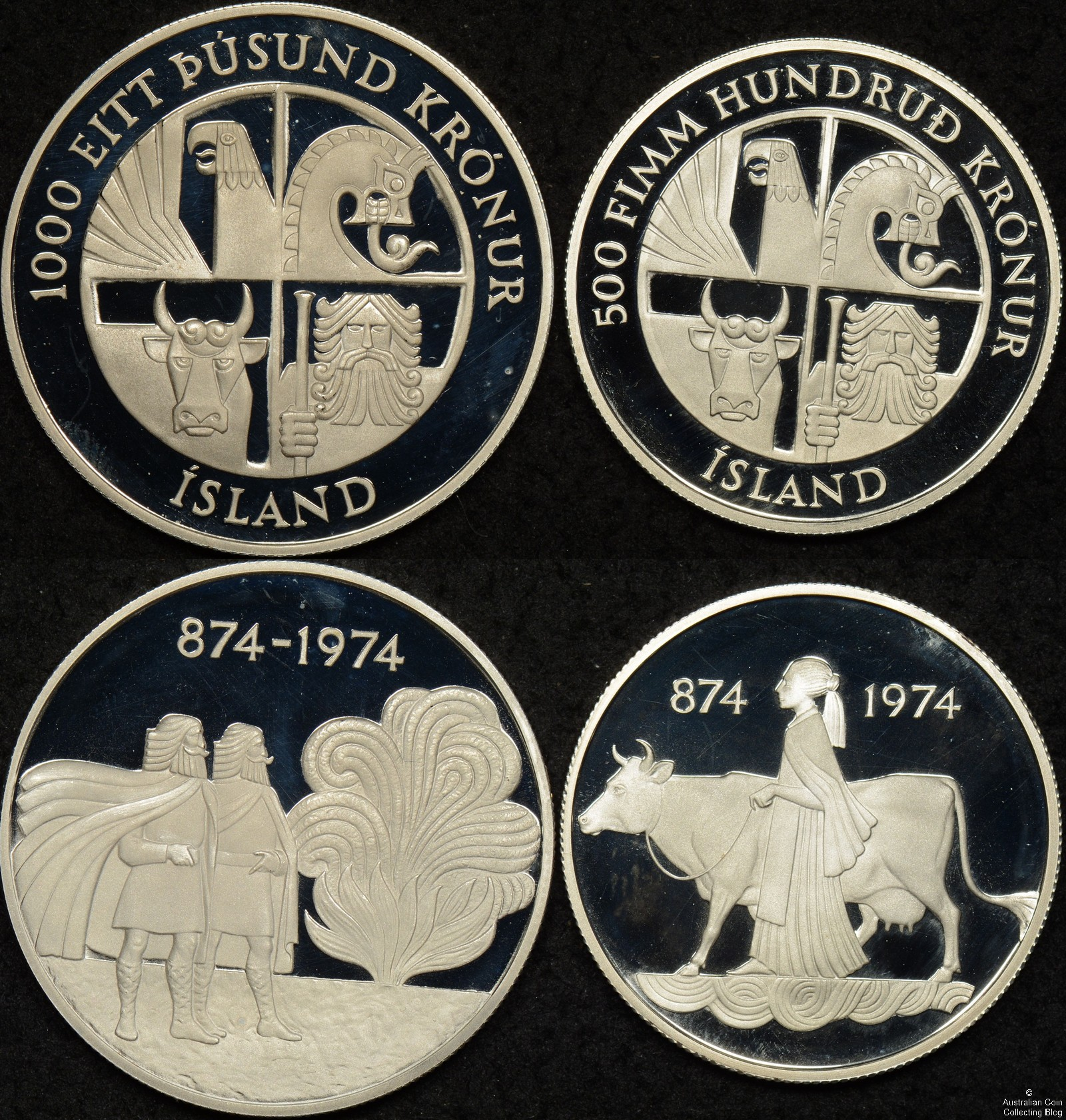 Iceland 1974 Two Coin Proof Set