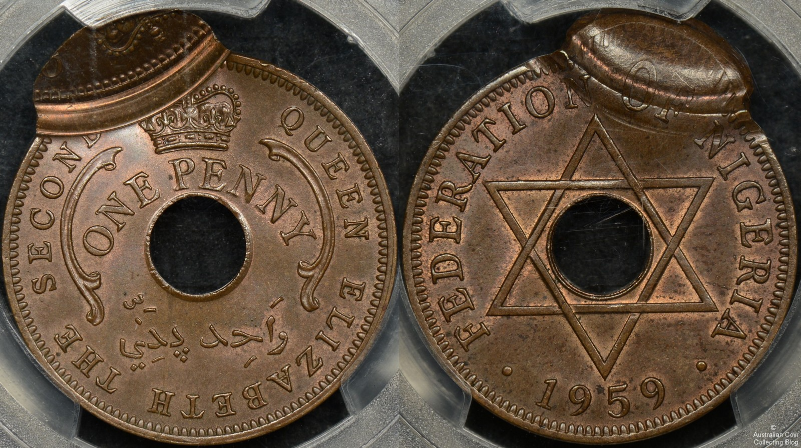 Nigeria 1959 Penny PCGS MS64BN  90 Percent Off-Center Double Strike Error