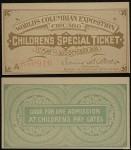 Children's Columbia Exposition Entry Ticket