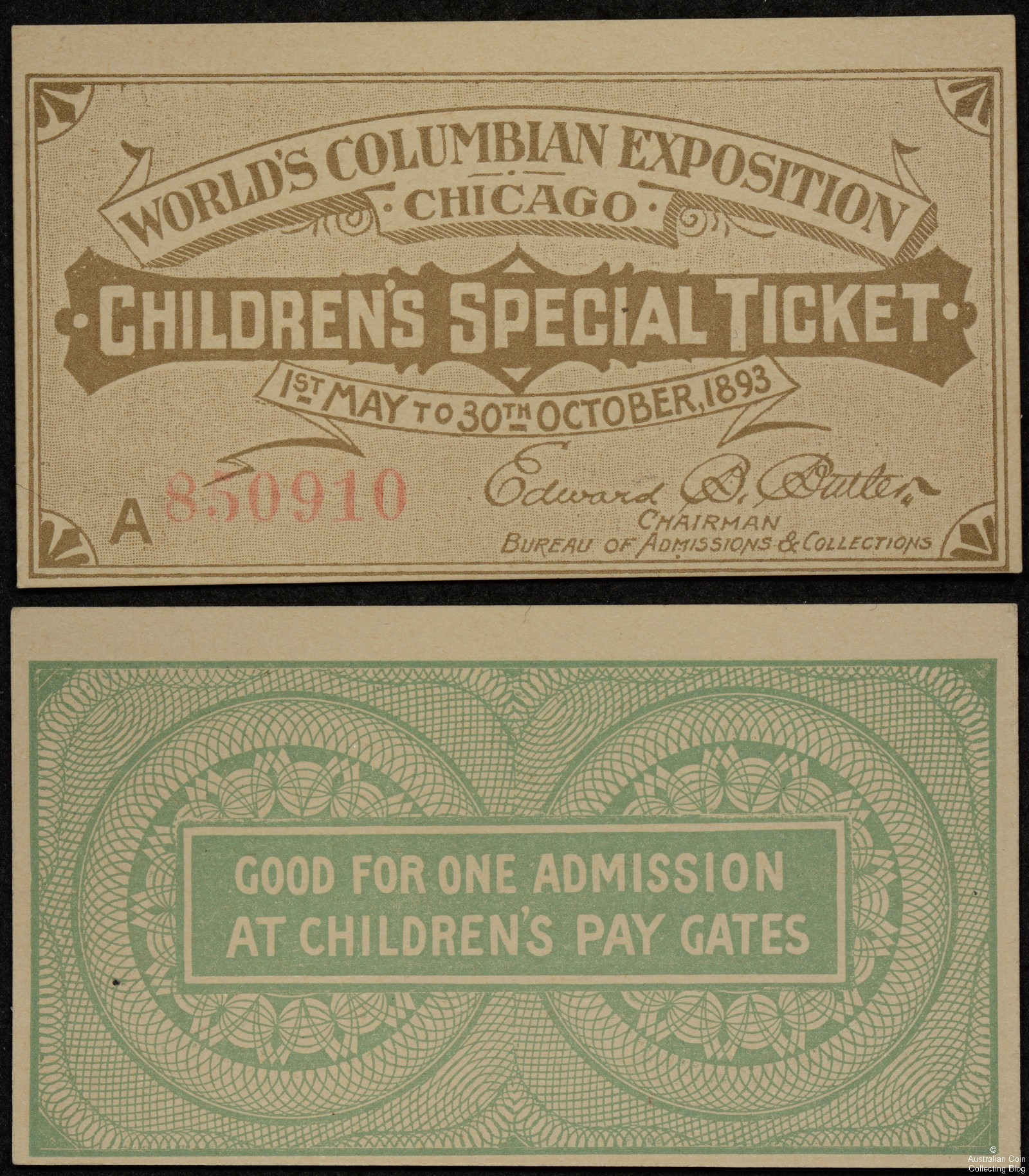 1893 World's Columbian Exposition Children's Special Ticket