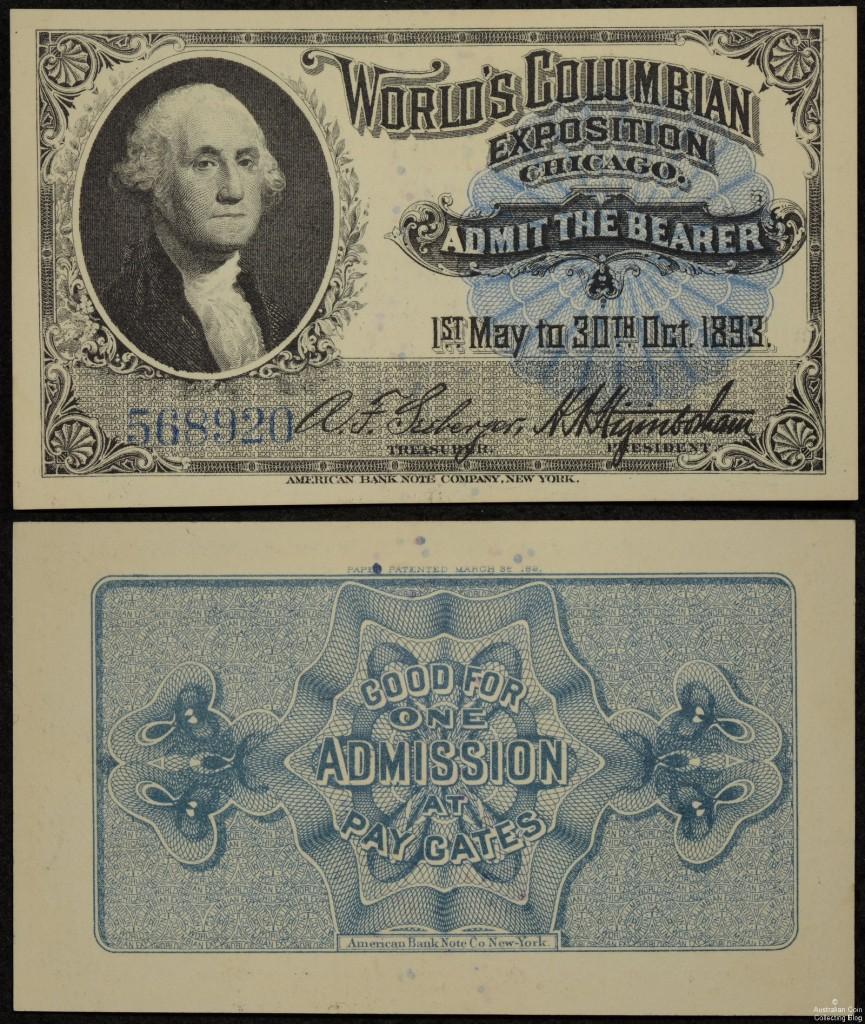Washington Portrait Souvenir Columbia Exposition Entry Ticket