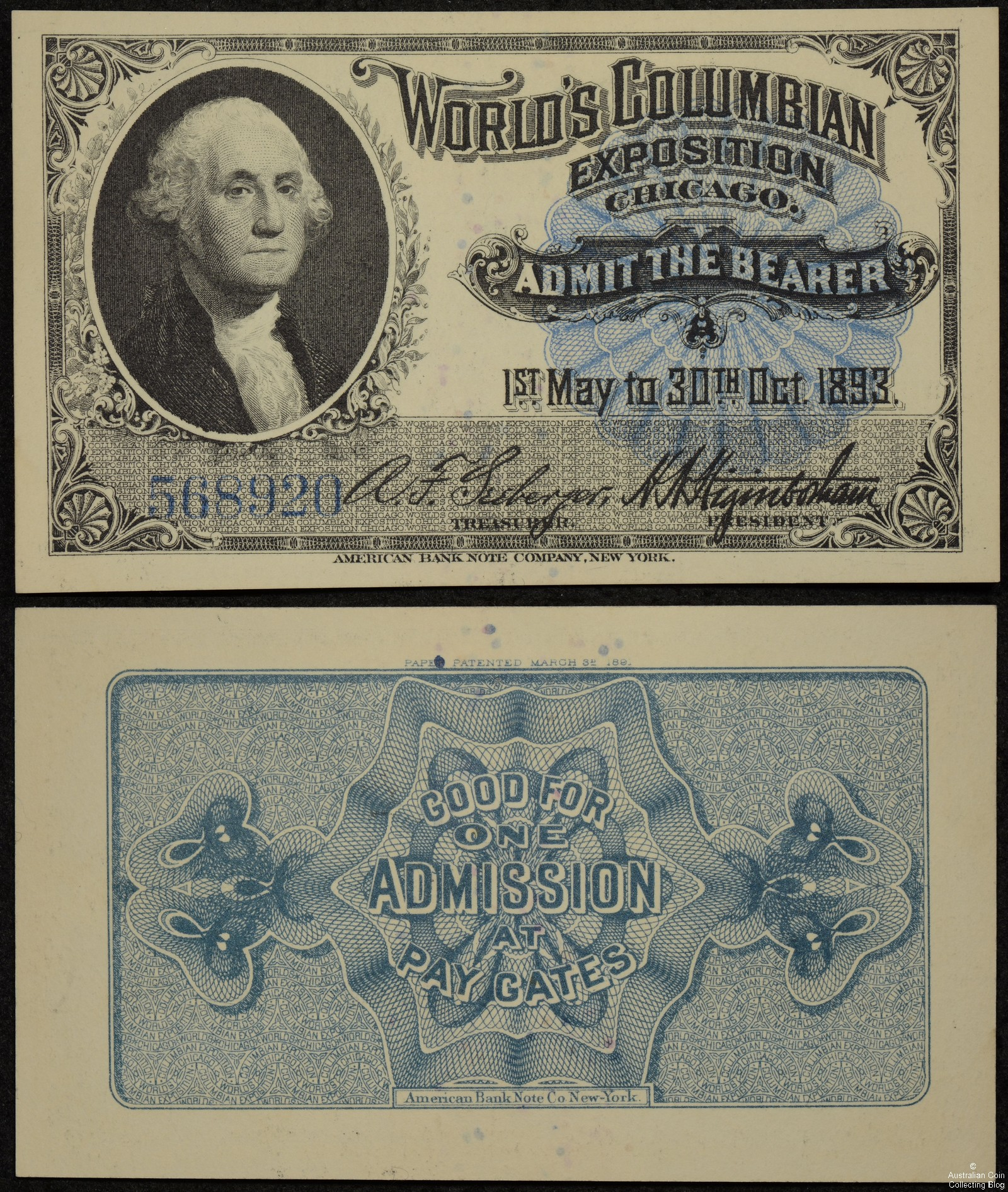 1893 World's Columbian Exposition Ticket – Washington Souvenir Portrait