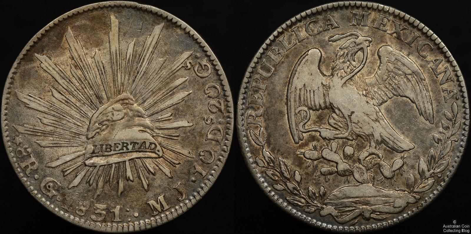 Mexico 1831 Go MJ 8 Reales KM#377.8