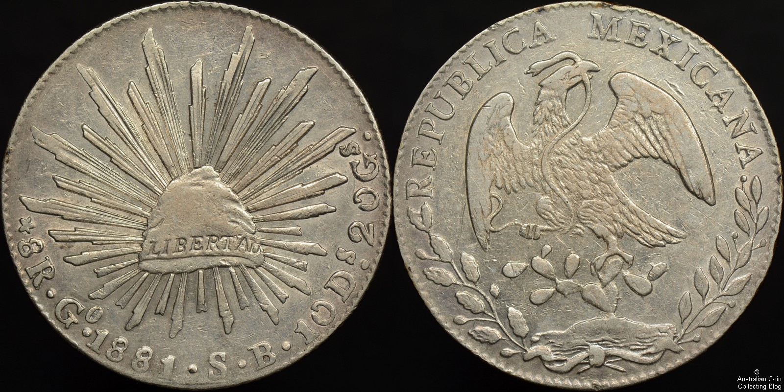 Mexico 1881/0 Go SB 8 Reales KM#377.8