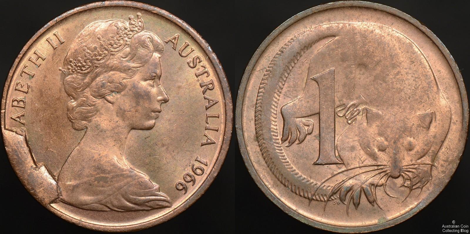 Australia 1966 1 Cent Cud