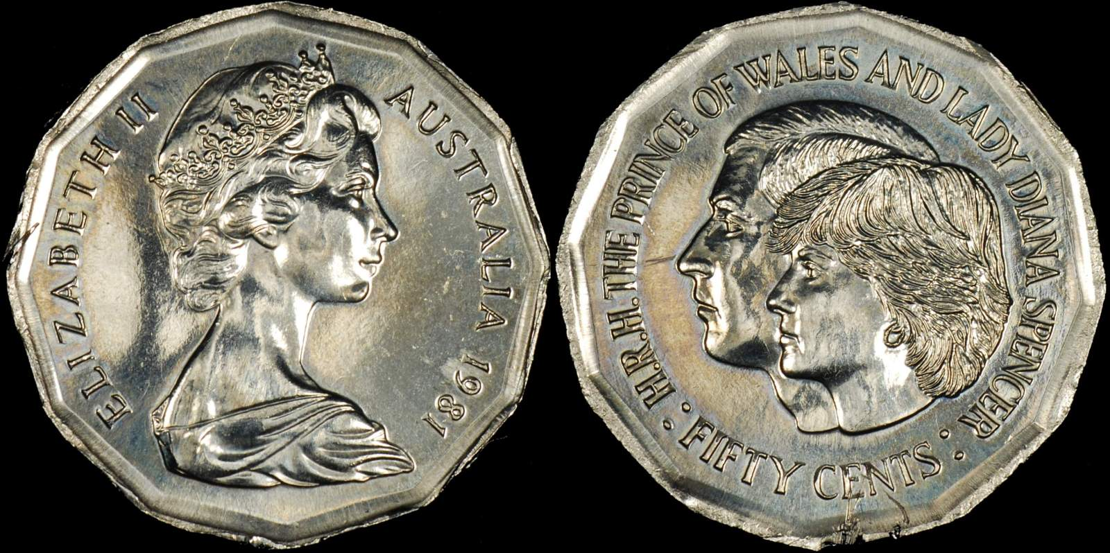 Australia 1981 Charles and Diana 50 cent Out of Collar Error