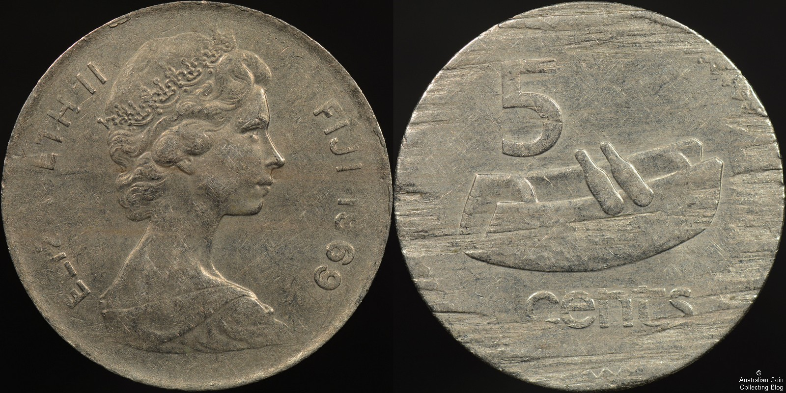 Struck on a Split Planchet Coin Error -Fiji 1969 5 cent