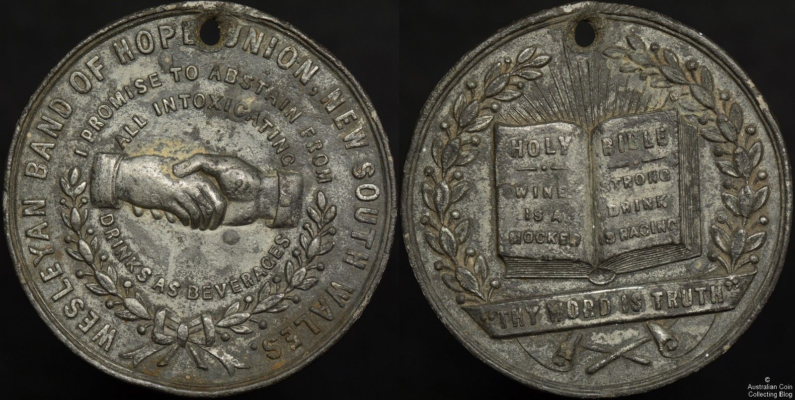 Circa 1880 Wesleyan Band of Hope Union New South Wales Medal