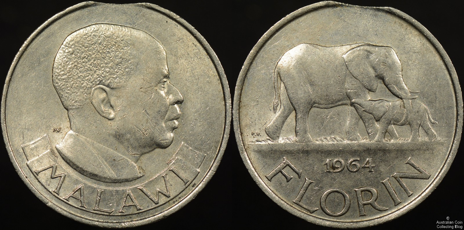 Malawi 1964 Florin Clipped Planchet Error