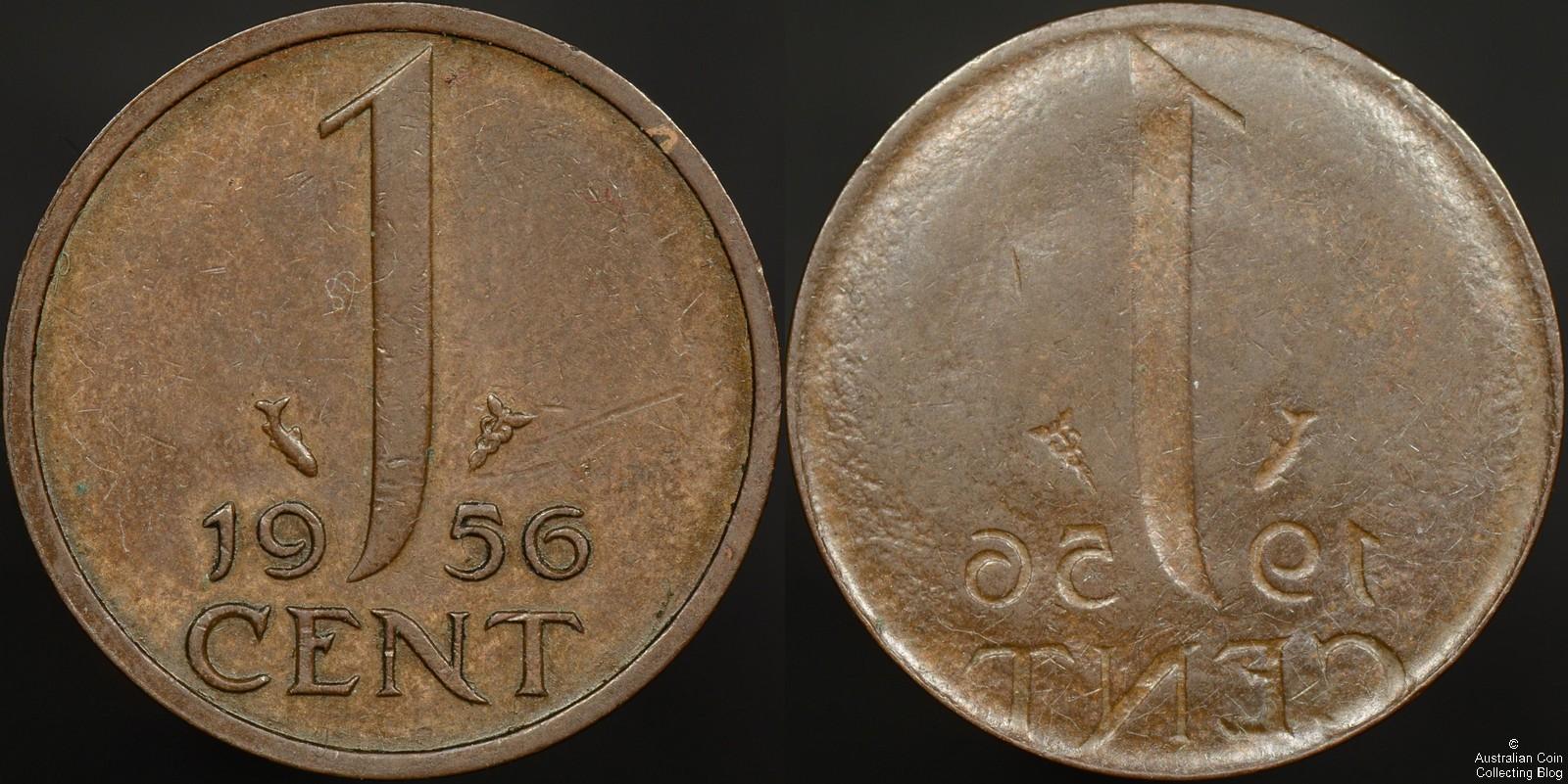 Netherlands 1956 1 Full Reverse Brockage Error