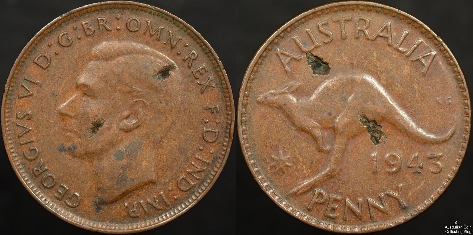 Australia 1943m Penny Lamination Flaws