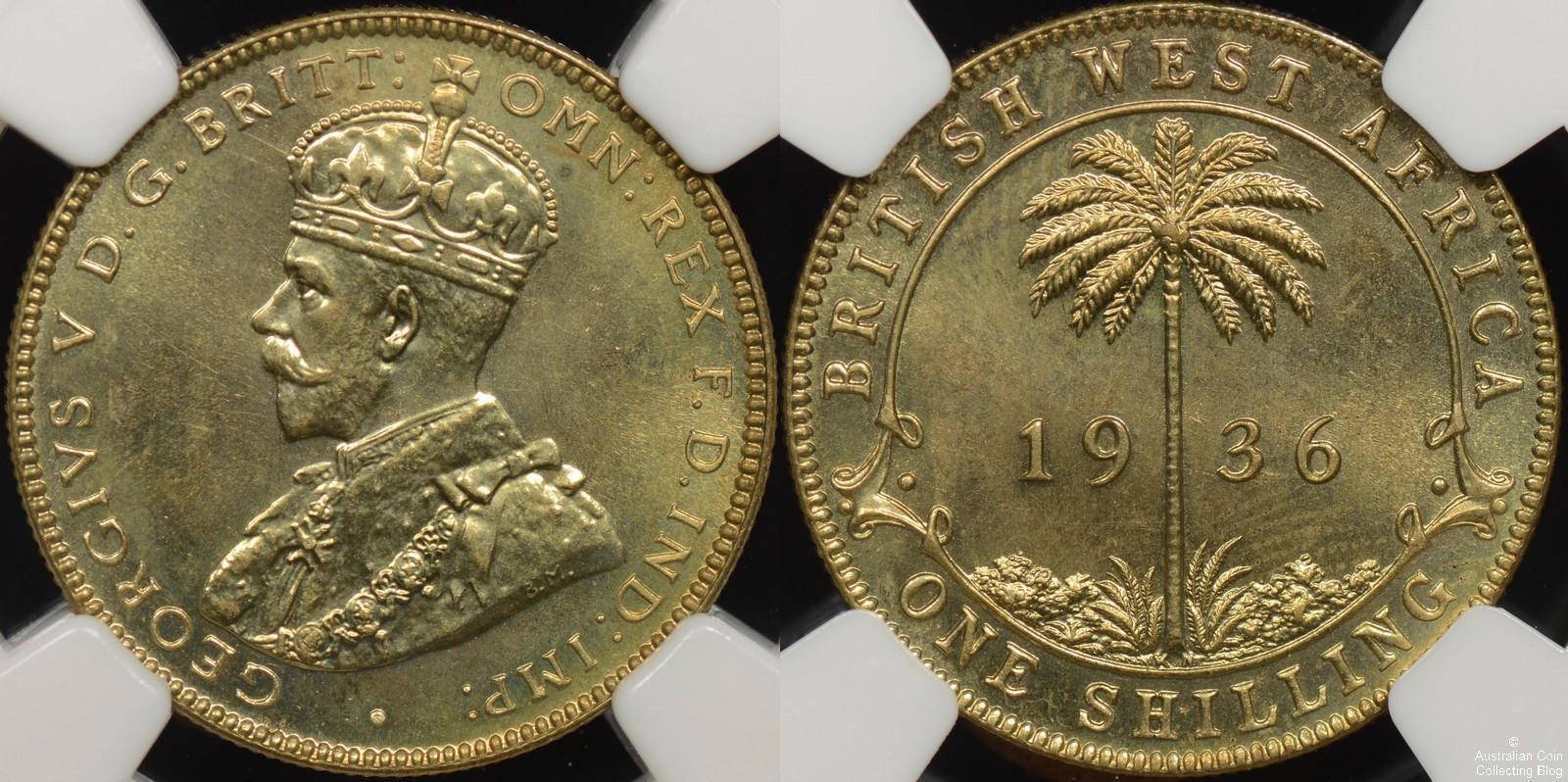 Specimen British West Africa 1936KN Shilling NGC SP67