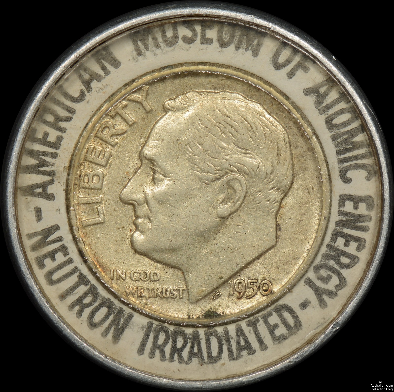 USA 1950 Encased Dime – Neutron Irradiated