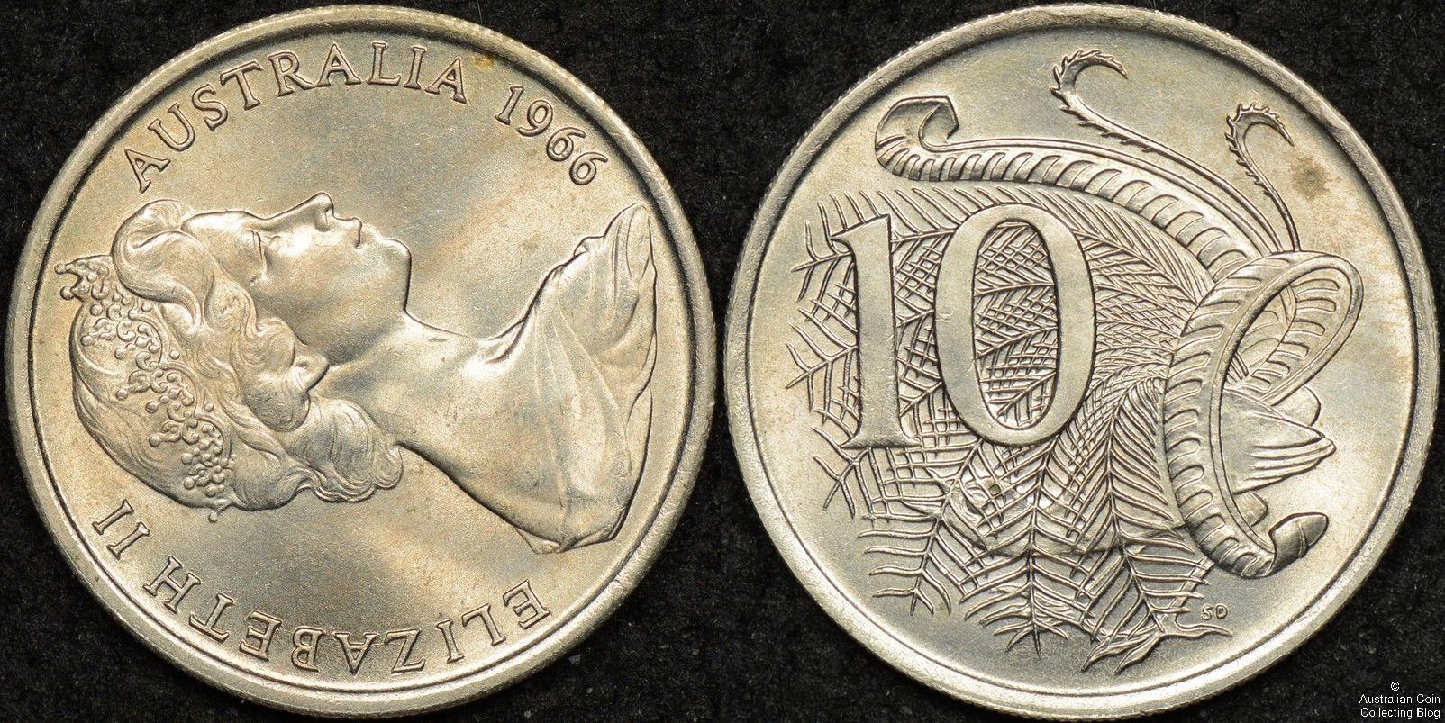 Australia 1966(L) 10 Cent PCGS MS65 Upset Variety