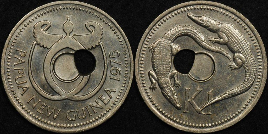 Papua New Guinea 1975 1 Kina Off Centre Hole Error