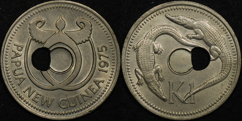 Papua New Guinea 1975 1 Kina Off Centre Hole Error
