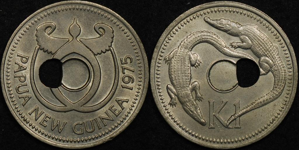 Papua New Guinea 1975 1 Kina Off Centre Hole
