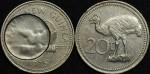 Papua New Guinea 1975 20 Toea Indent Error