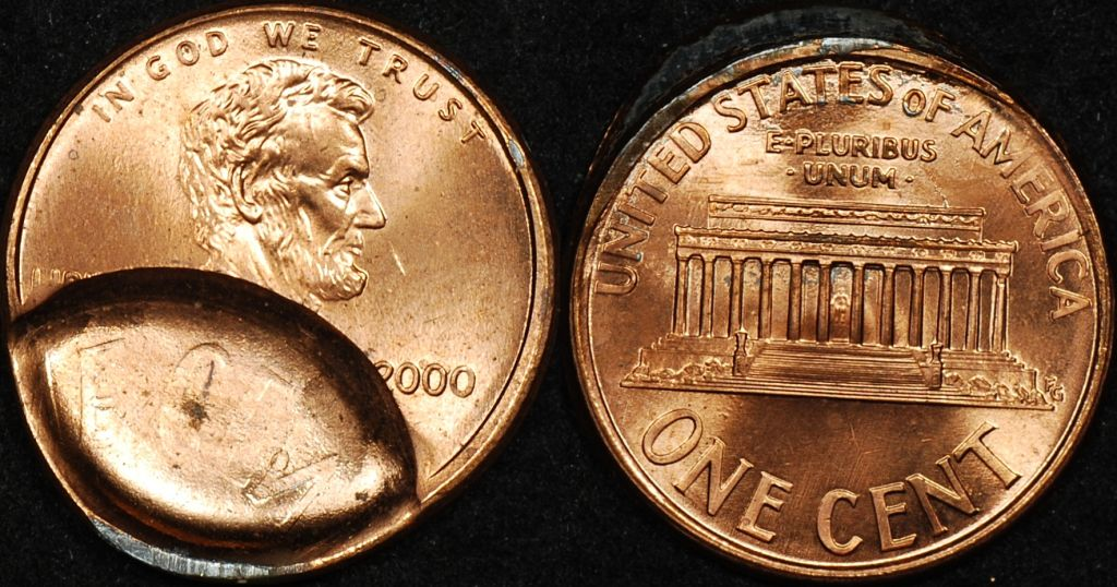 United States 2000 Cent Indent with Brockage