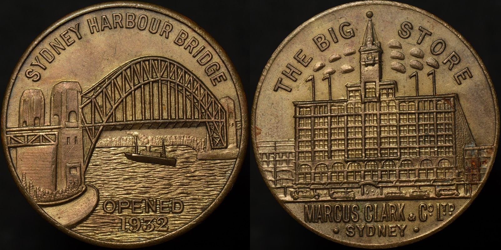Sydney Harbour Bridge The Big Store Marcus Clark & Co Ltd Medal 1932/3