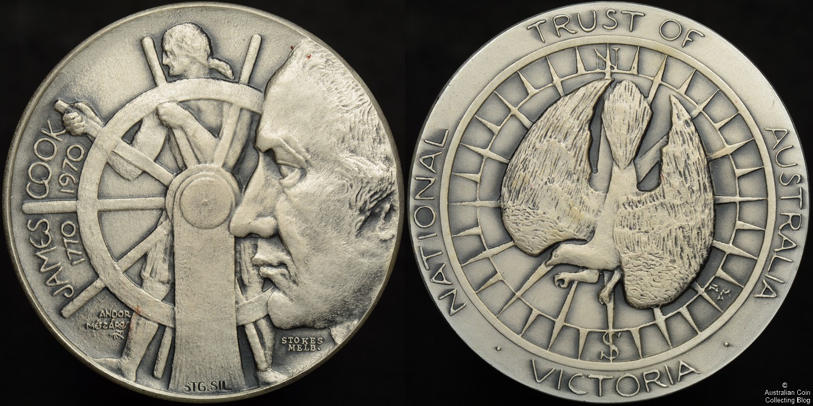 1970 Captain James Cook National Trust of Australia Victoria Medal in Silver