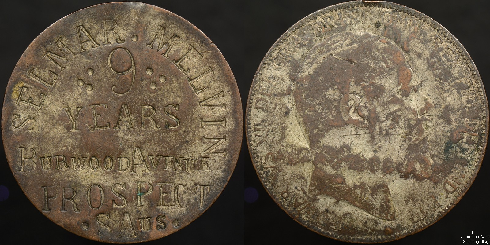 Australia Children's Token Circa 1918-1919 – SELMAR MELVIN 9 YEARS