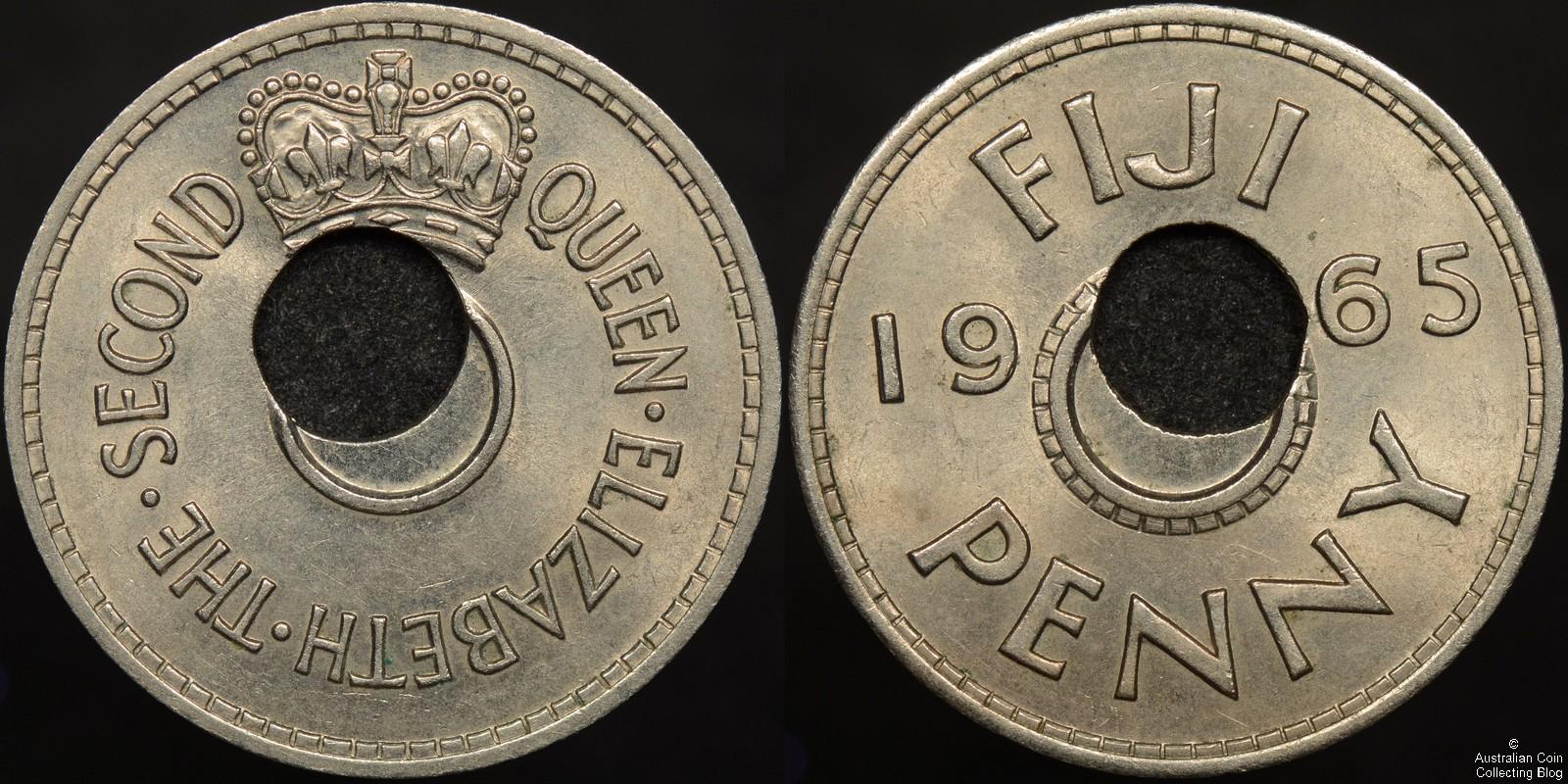 Fiji 1965 Penny Off Centre Hole Error