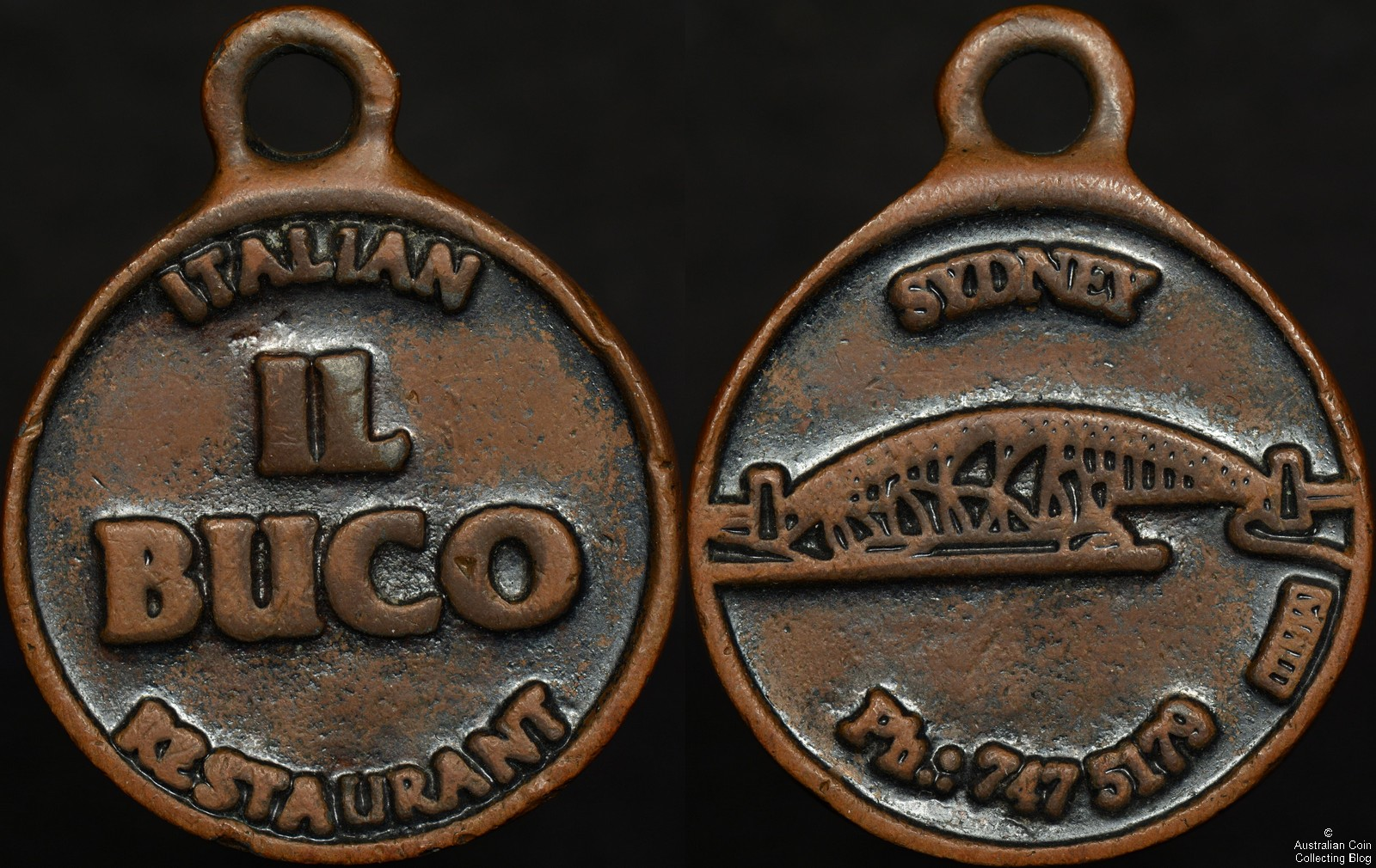 il Buco Italian Restaurant Medallion with Sydney Harbour Bridge Design