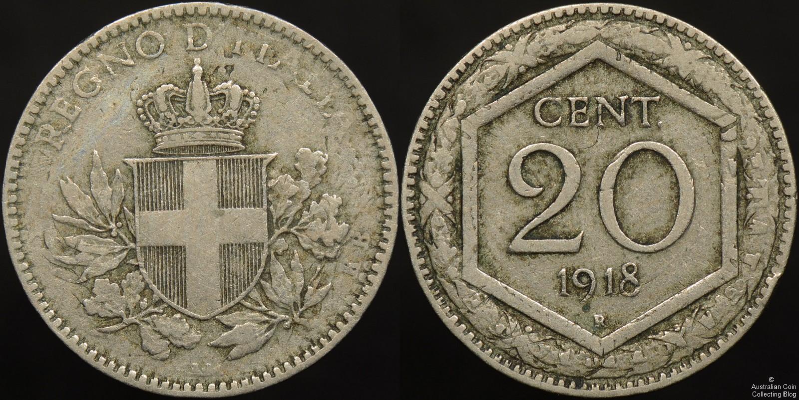 Italy 1918R 20 Centesimo Overstruck on 1894KB 20 Centesimo