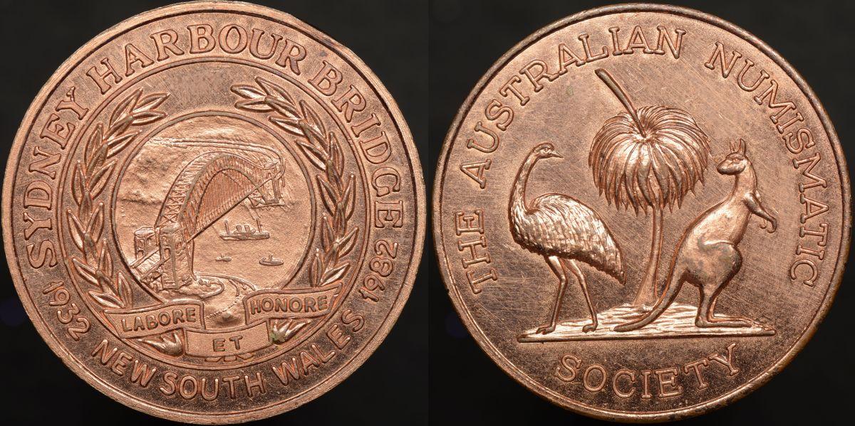 Australian Numismatic Society Sydney Harbour Bridge Medal 1932-1982 1982/11