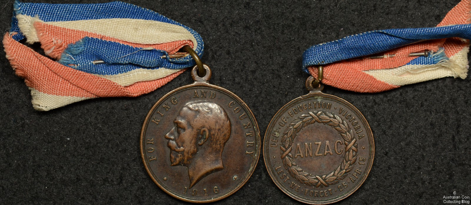 1916 ANZAC Education Department Victoria Medallion with Ribbon/Pin