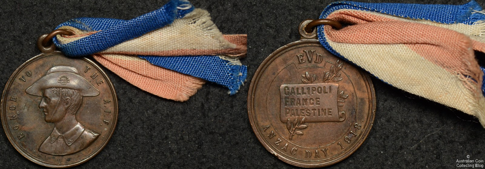Australia 1918 Honor to the AIF Medallion Bronze with Ribbon