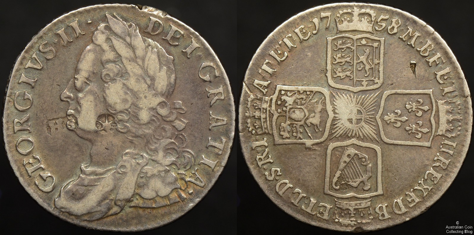 Great Britain 1758 Shilling with HS & Star / Wheel Countermark