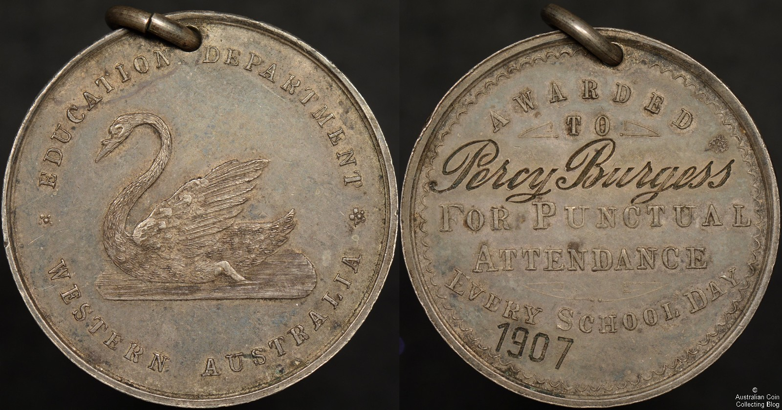 1907 Western Australia Education Department Medal For Punctual Attendance Every School Day