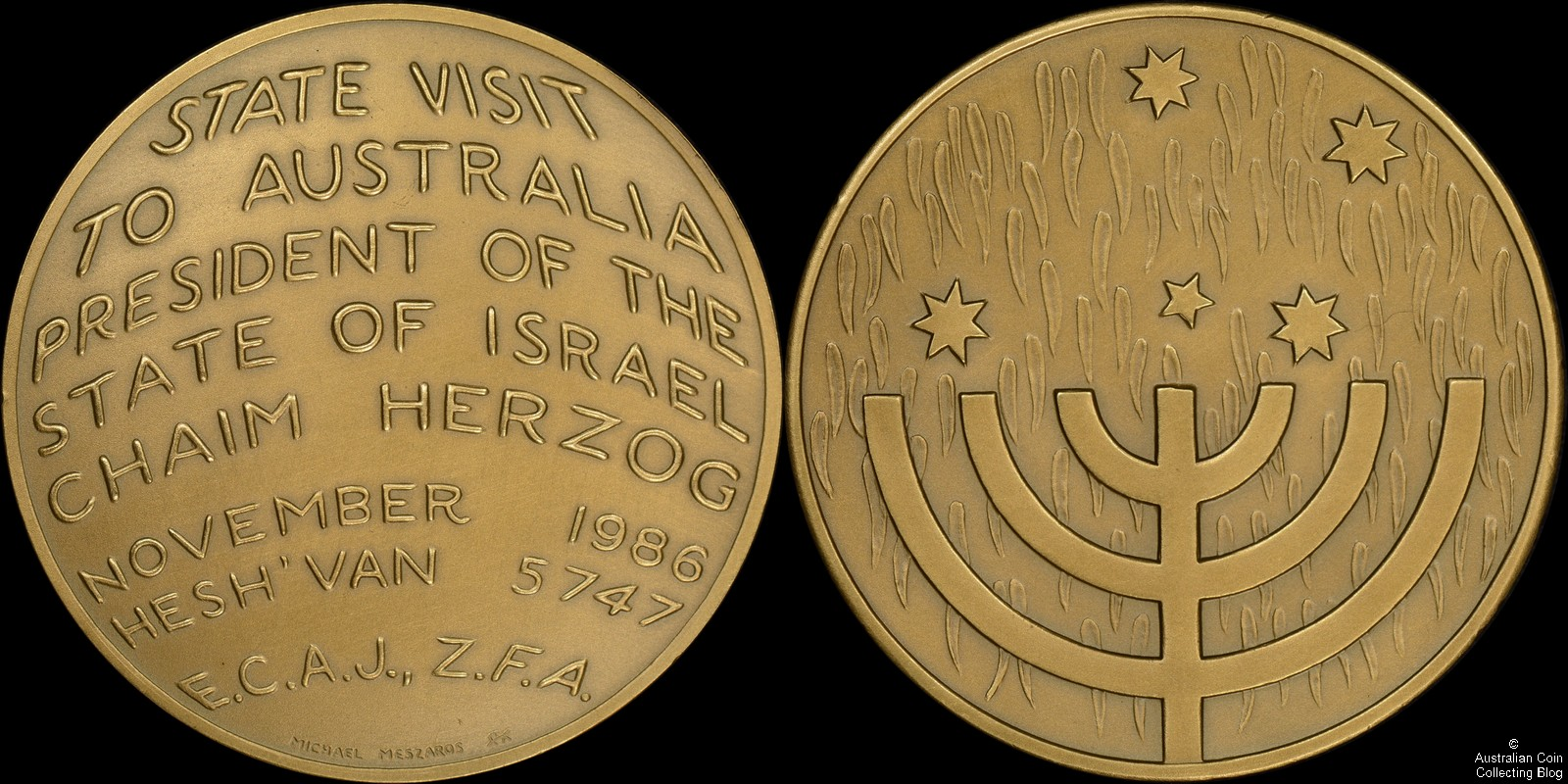 1986 State Visit to Australia of the President of the State of Israel Medal